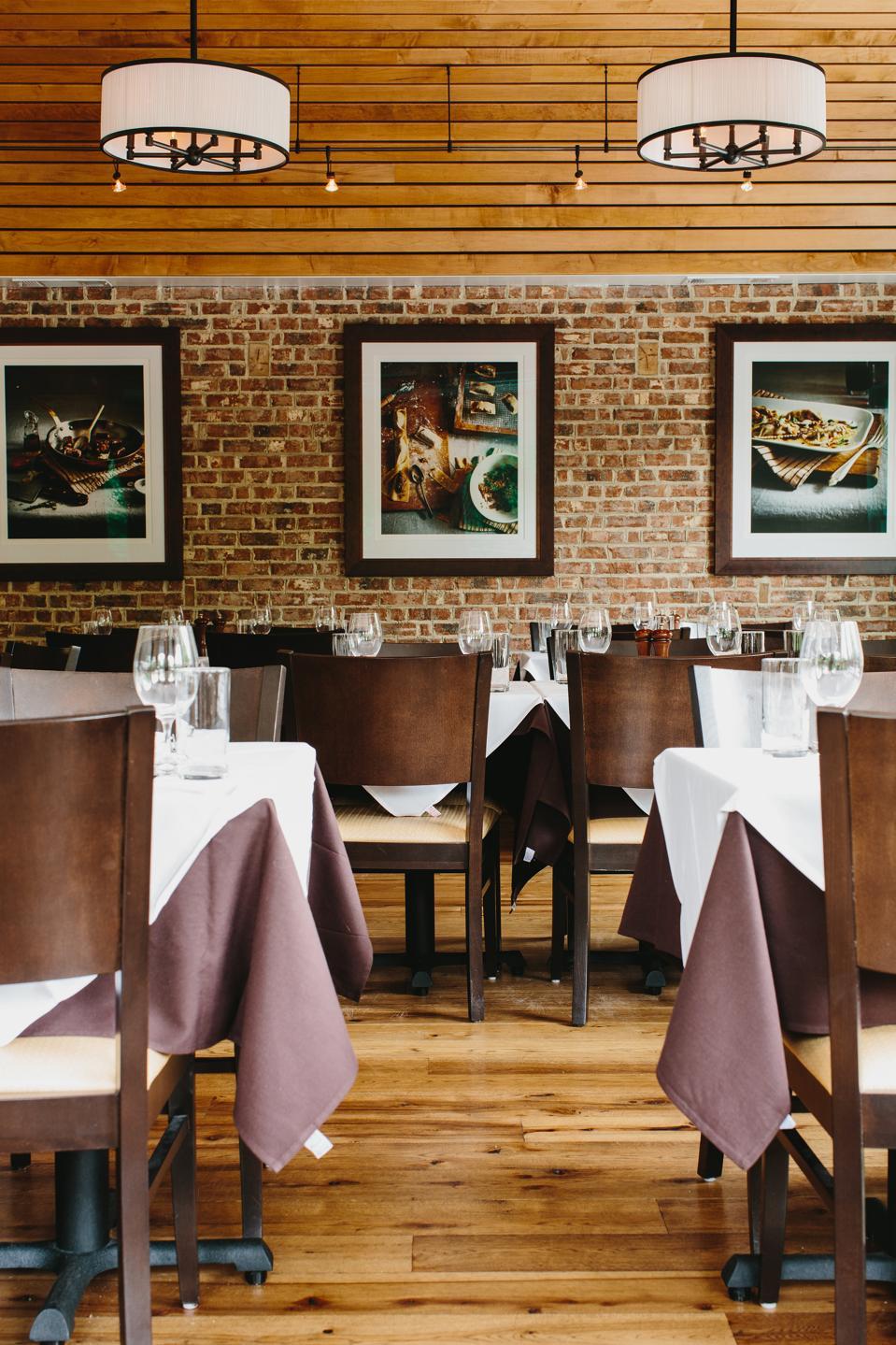 The inside of Osteria Mattone restaurant in Roswell, GA
