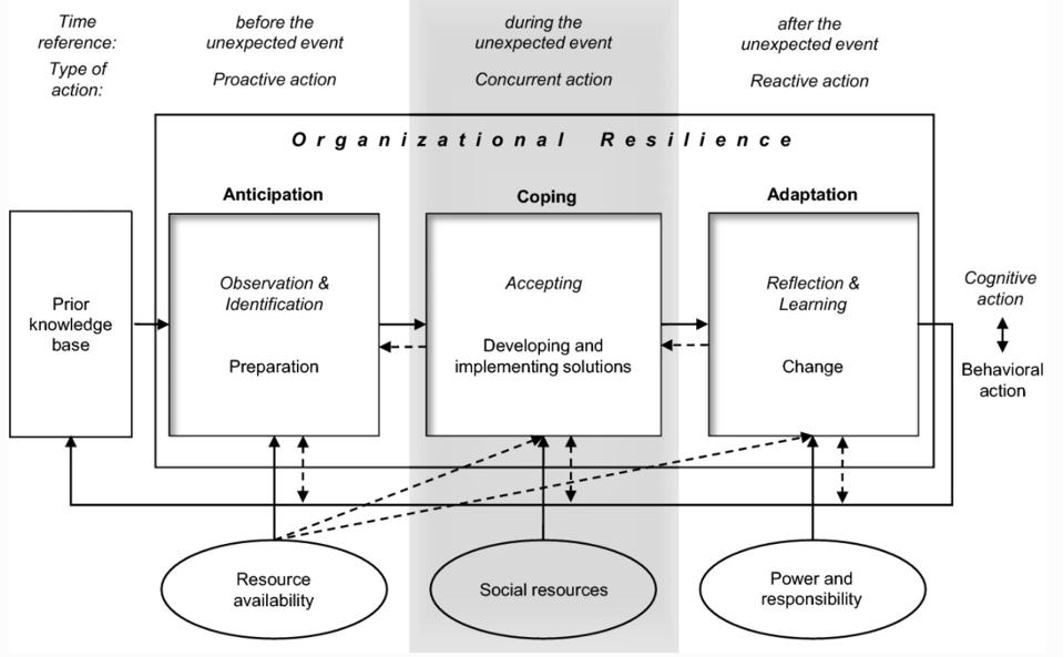 Organizational Resilience chart: Anticipation Coping Adaptation