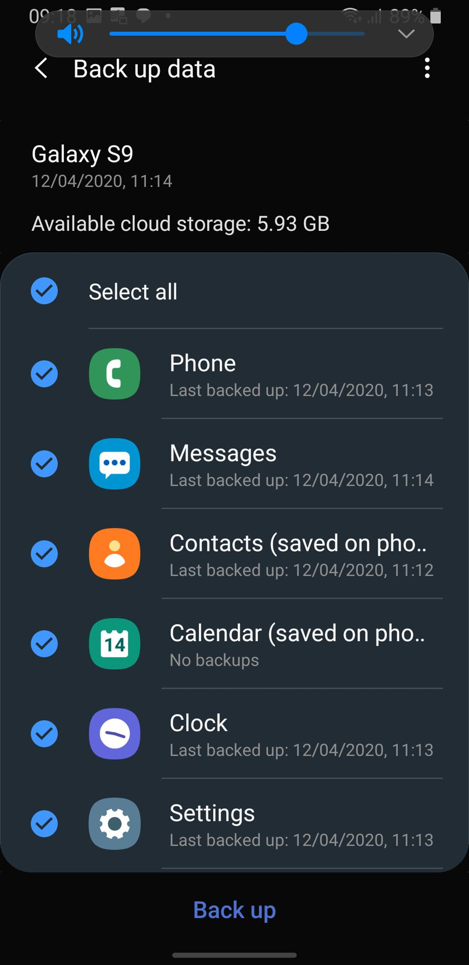 Samsung Galaxy backup settings