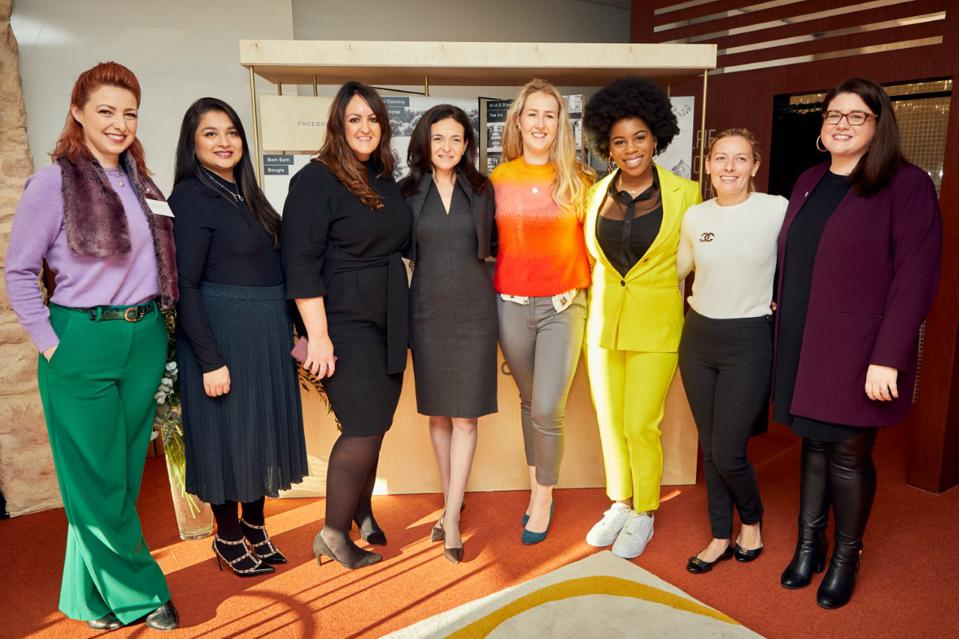 Sheryl Sandberg meets with small business owners in London earlier this year.