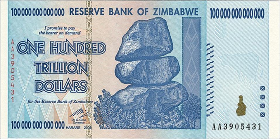 A Zimbabwe one hundred trillion dollar note
