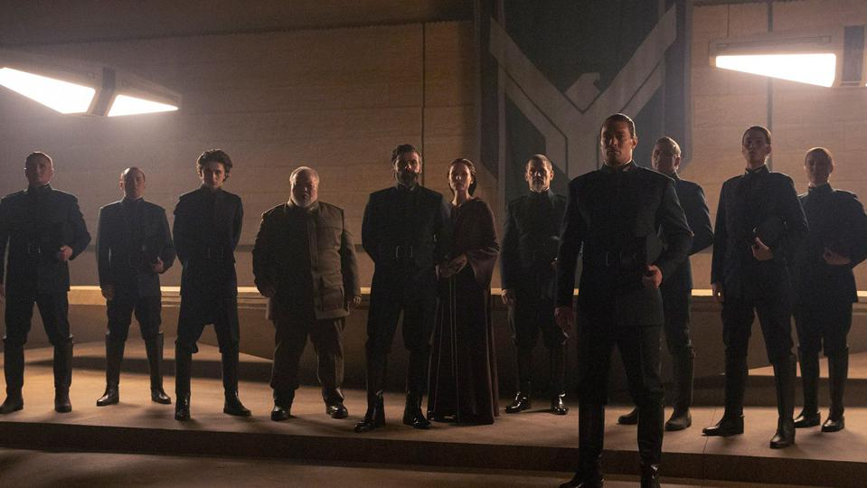 Timothee Chalamet, Stephen Mckinley Henderson, Oscar Isaac, Rebecca Ferguson, Josh Brolin as Gurney Halleck and Jason Momoa as Duncan Idaho in 'Dune'
