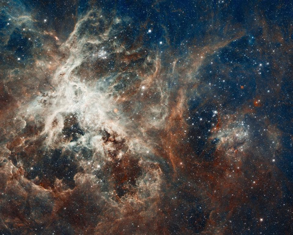 Hubble's view of the Tarantula Nebula, a vast star-forming region in the Large Magellanic Cloud