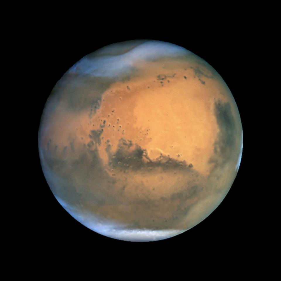 Mars, the red planet, near 'opposition' in 2001.