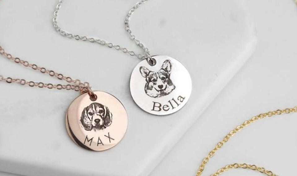 Two custom pet necklaces from Etsy seller Mignon & Mignon