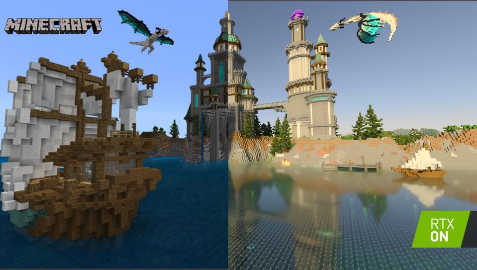 Image of Minecraft with and without ray tracing.