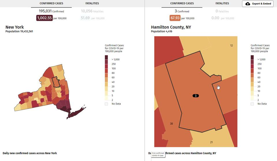 Incidence rate map for Hamilton County NY.