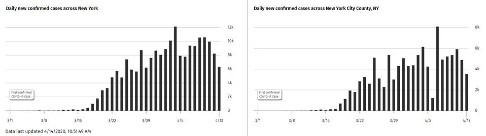 NY State and NYC county confirmed cases histograms for March 1 through April 13.