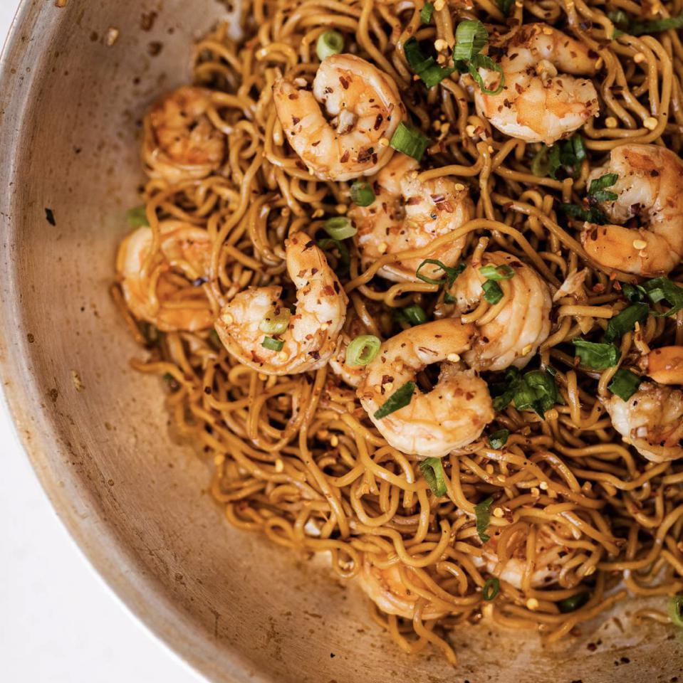 A dish of shrimp noodles created Chef Elle.