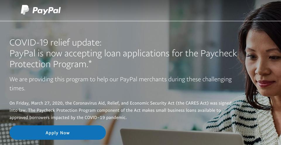 Screen capture of PayPal welcome screen for PPP online application