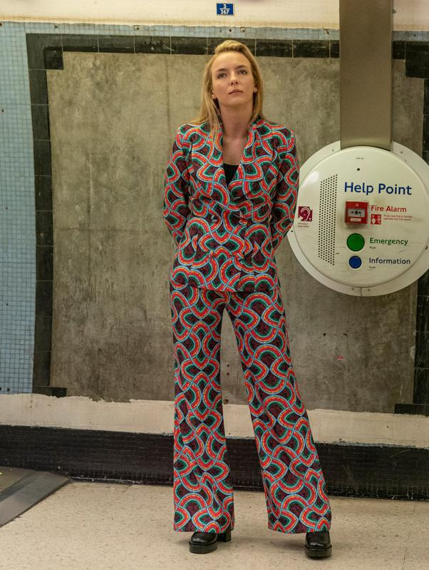 Underground ready: Villanelle in a Halpern suit and Simon Miller boots for Killing Eve season 3