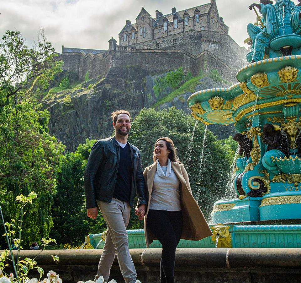 A couple taking a private tour of Scotland.