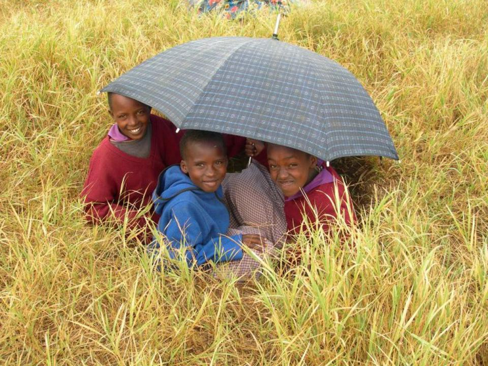 A small group under an umbrella in an open field.