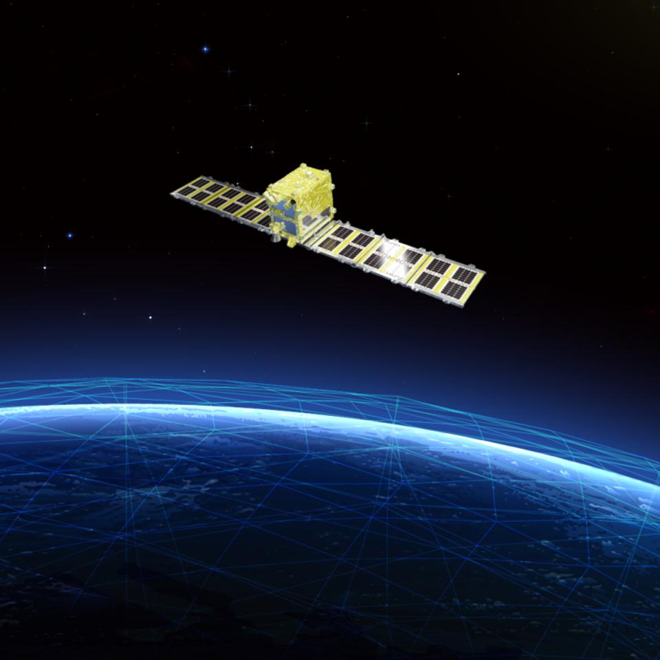 Artist's impression of the Synspective satellite.
