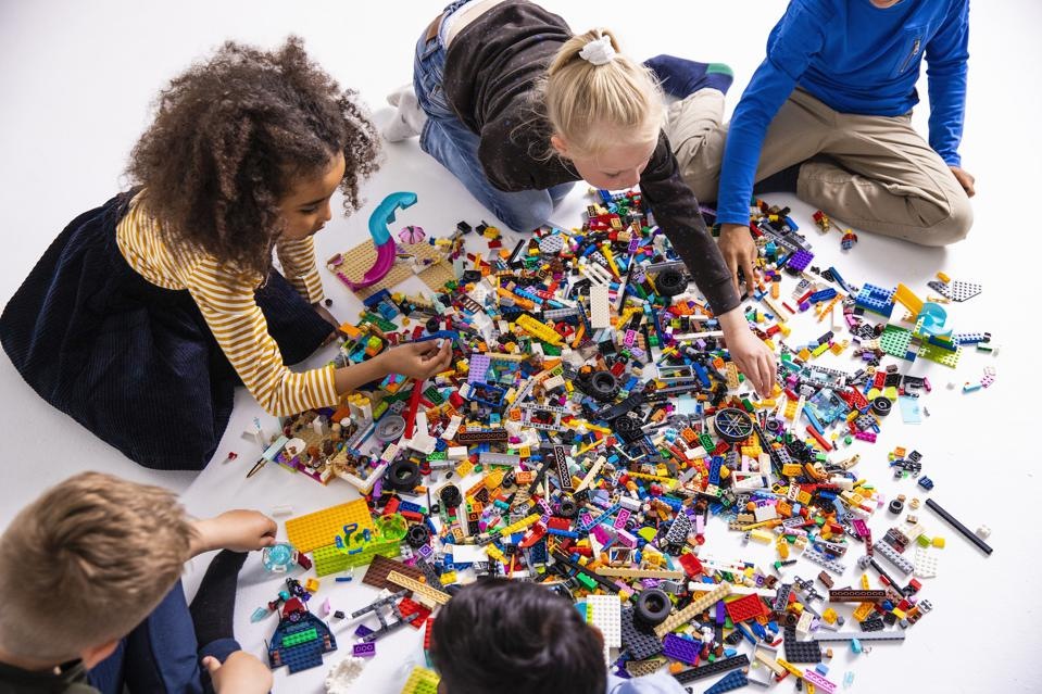 Kids at play with Legos