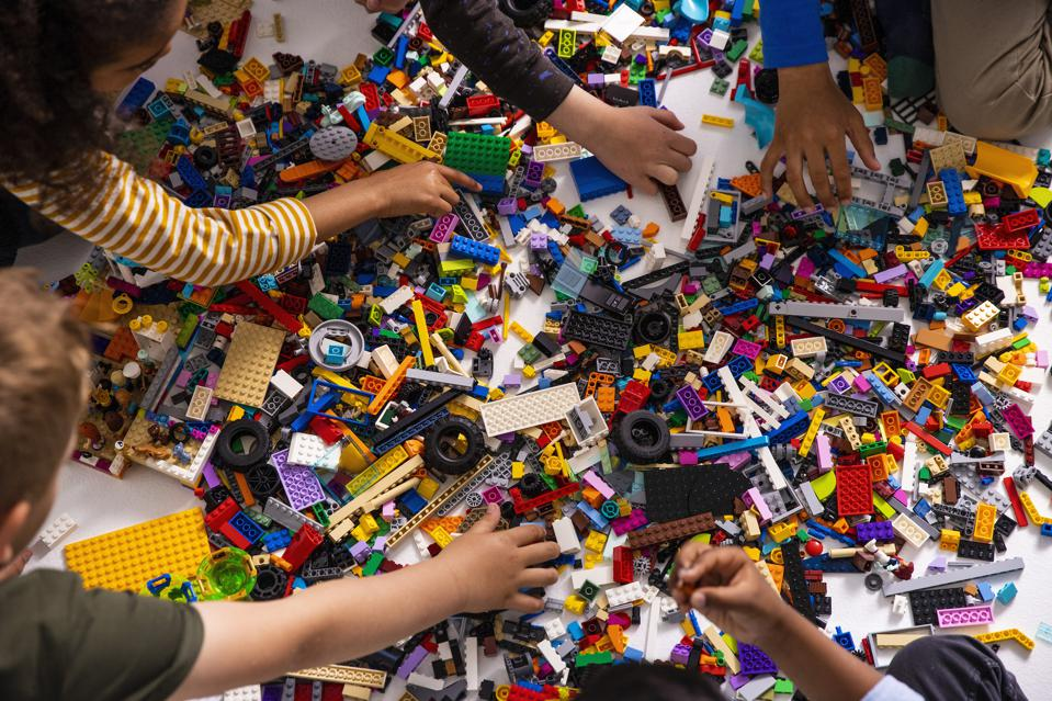Kids at play with Lego