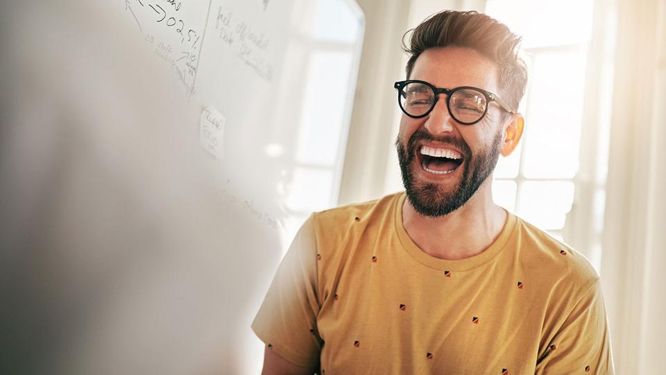 Man laughing.