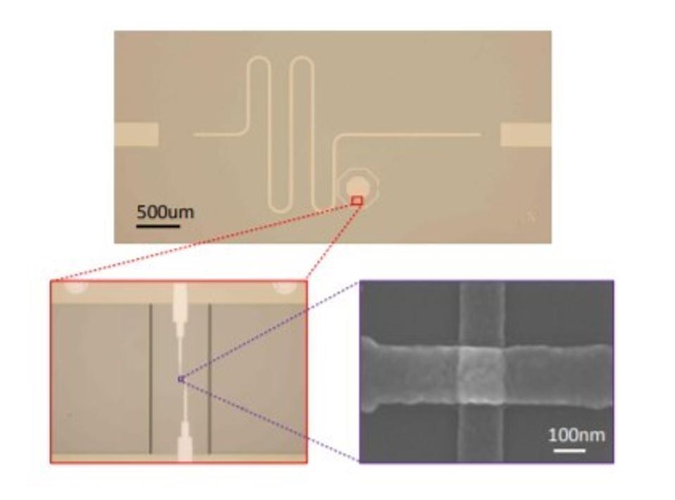Optical and SEM images of a transmon qubit