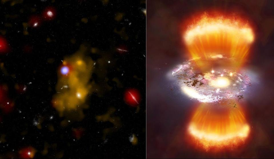 11.5 billion light-years away. Glowing hydrogen gas in the blob is in the Lyman-alpha optical image ( yellow). On the right, a galaxy located in the blob is visible in a broadband optical image (white) and an infra-red image (red)