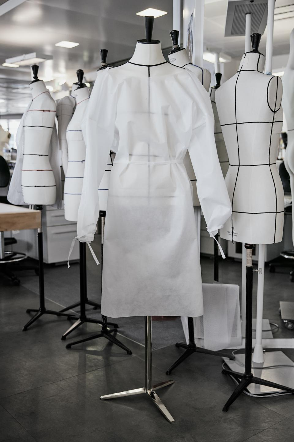 A hospital gown made in the Louis Vuitton atelier in Paris