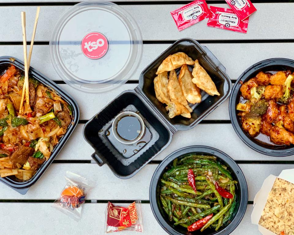 Chinese food in take-out containers