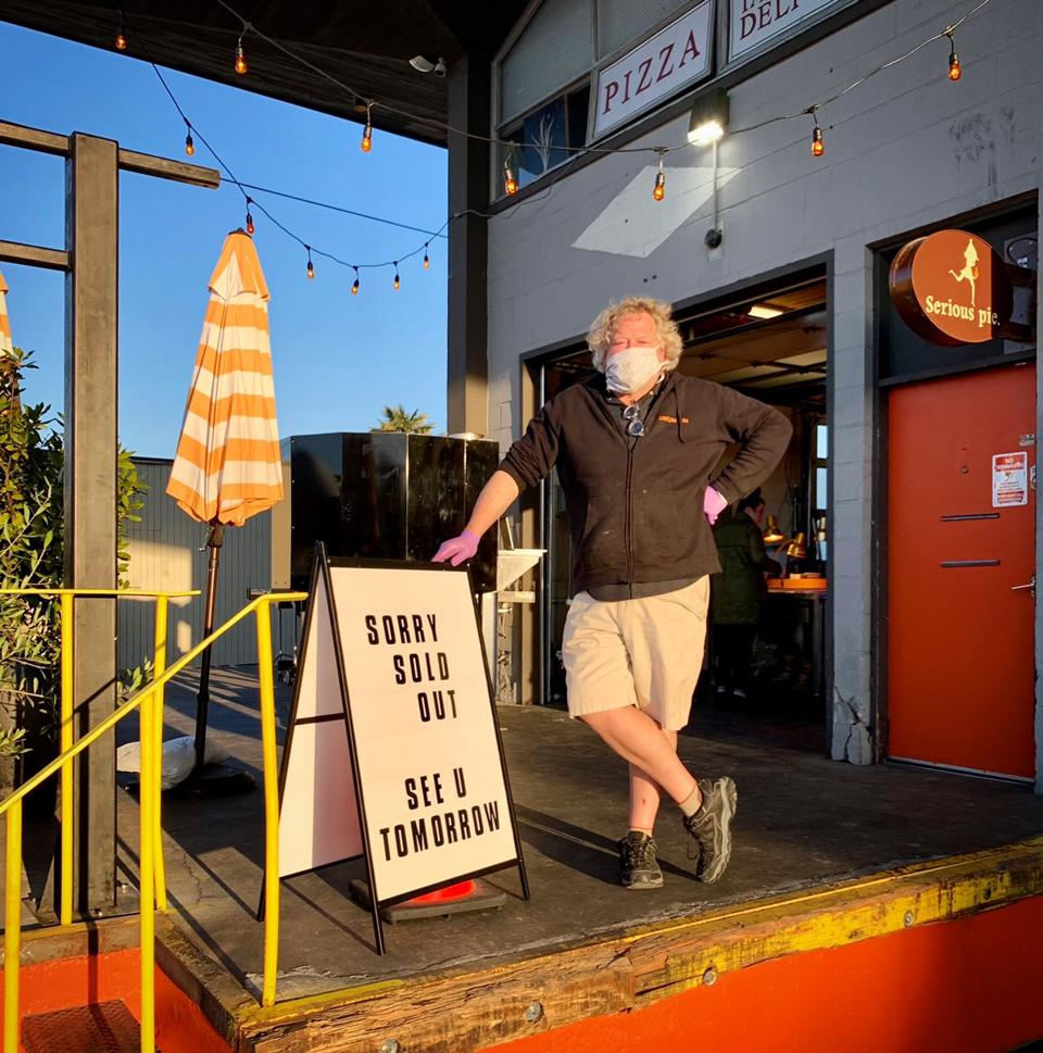 Tom Douglas at Serious Pie in Ballard, where the menu has expanded to include sandwiches.