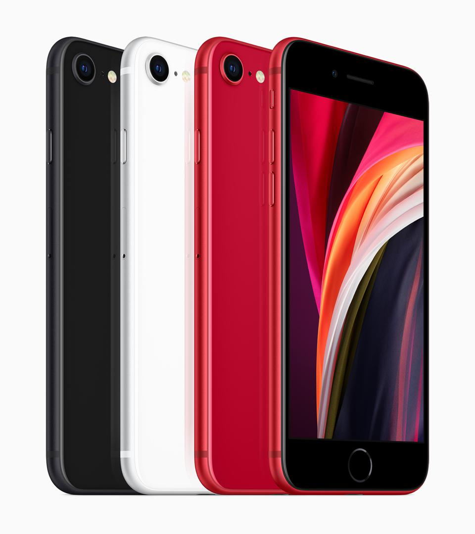 The new iPhone SE lined up, showing black, white and red backsides, and the front o red