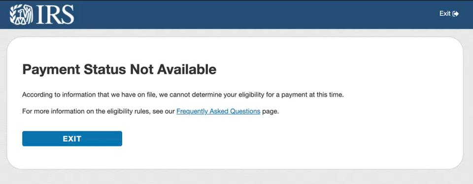 Screenshot of error message on ″Get My Payments Portal″ on IRS website