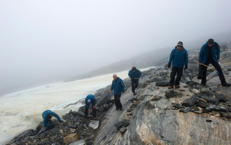 Archaeological study on a melting Norwegian glacier.