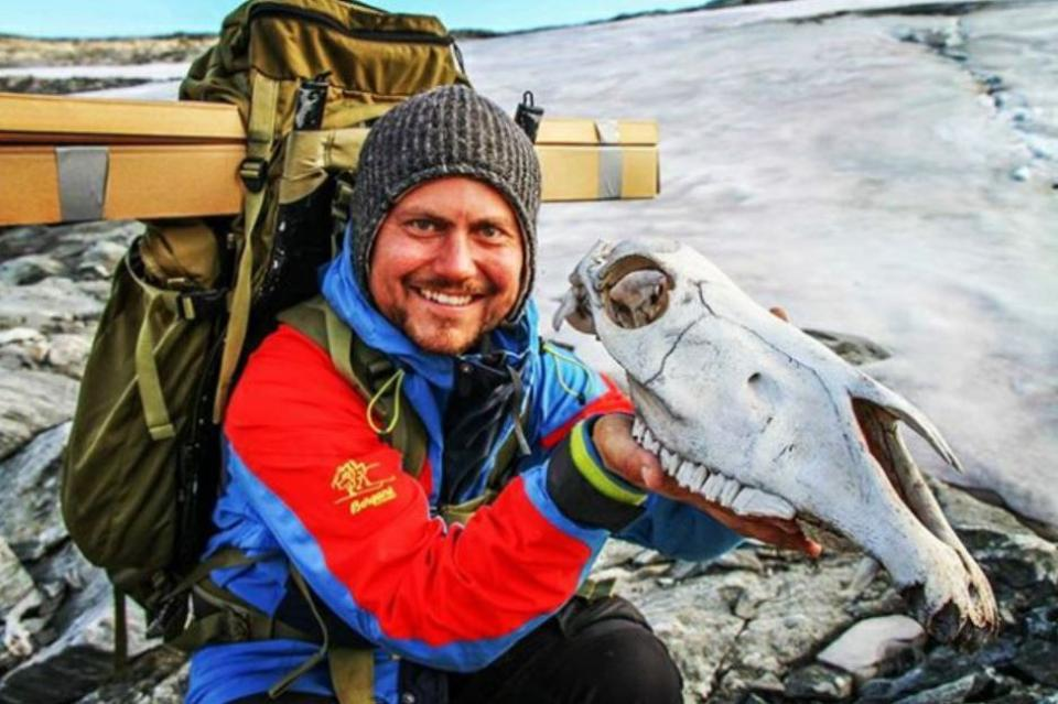 Archaeologist holding a skull from a packhorse on the Jotunheimen Mountains.