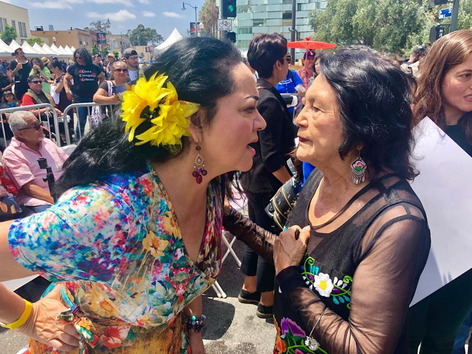 Josefina Lopez with Dolores Huerta, civil rights and co-founder (with Cesar Chavez) of the National Farmworkers Association.