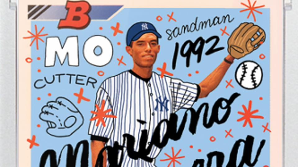 Sophia Chang's Topps Project 2020 Mariano Rivera baseball card. The design is based on his 1992 Bowman rookie.