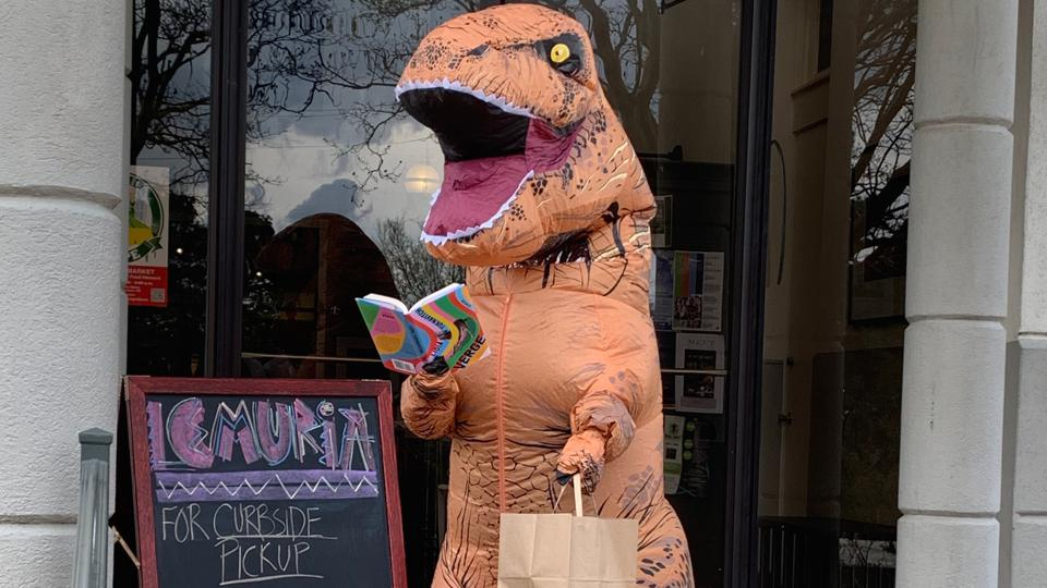 lemuria books jackson mississippi curbside pickup dino delivery dinosaur costume bookstore