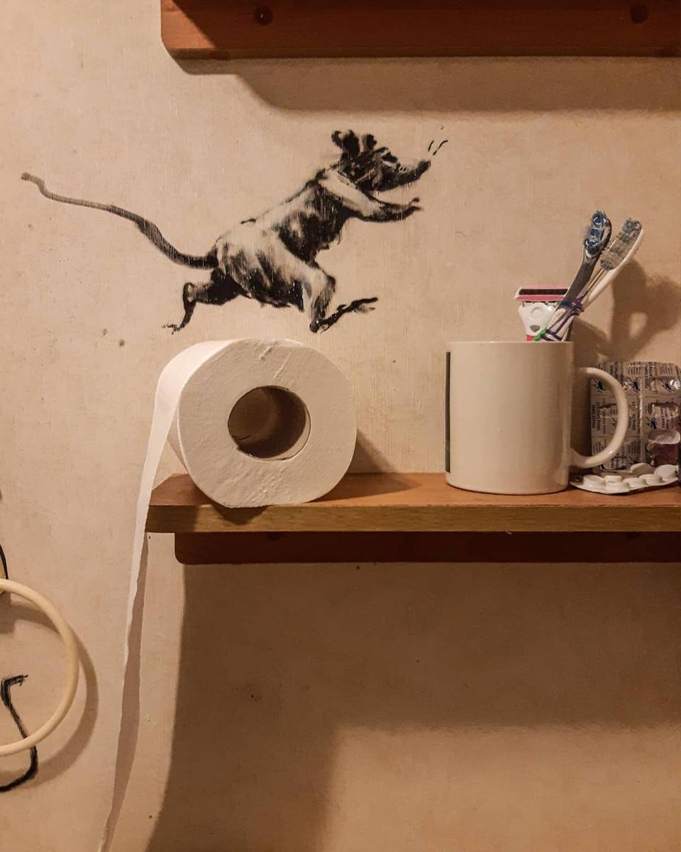 An illustration of a rat running on top of a toilet paper roll.