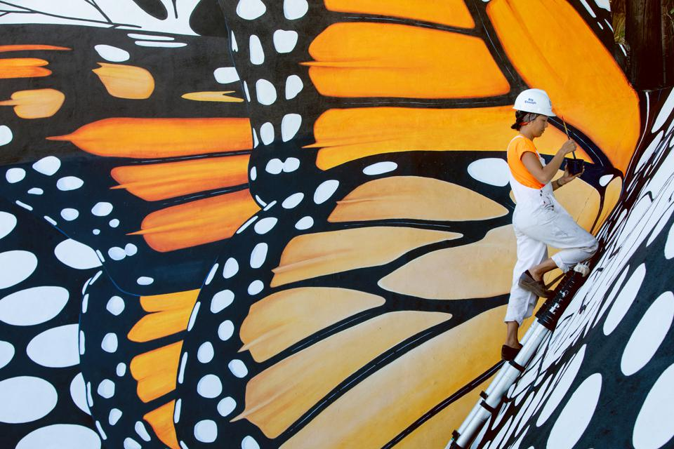 Ink Dwell Monarch Migrating Mural.