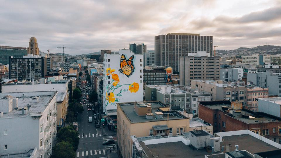 Ink Dwell's Monarch Migrating Mural at 455 Hyde Street in San Francisco.