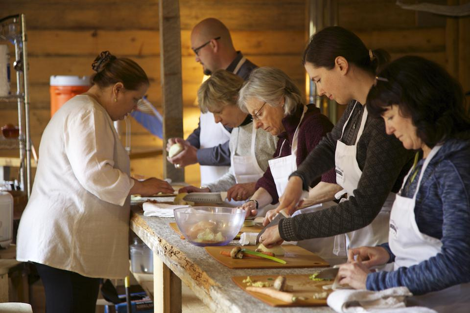 Chef Kirsten Dixon leading a cooking class