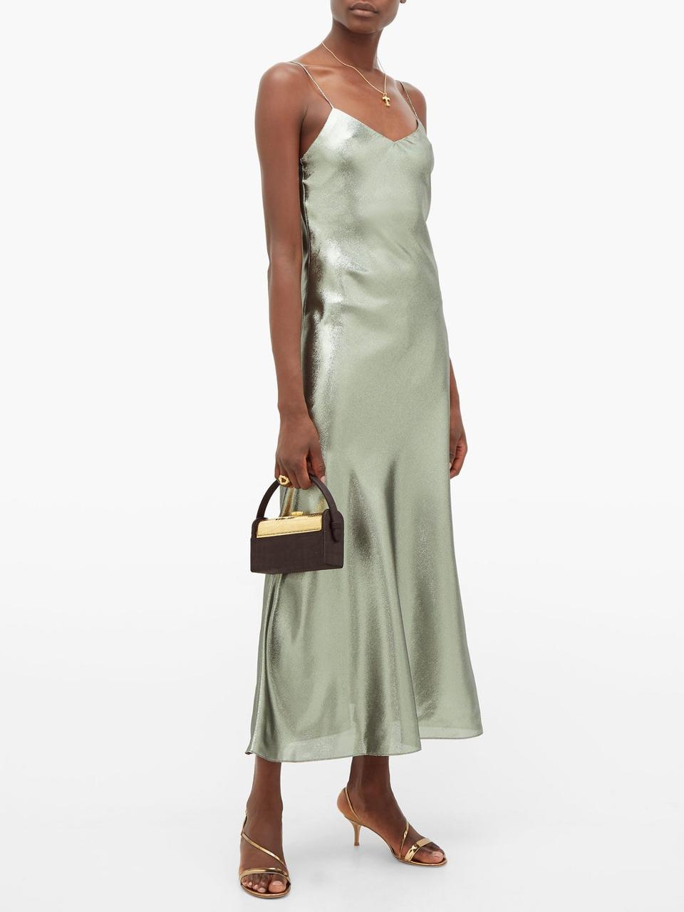 Manipur Metallic Silk-Blend Slip Dress by Blazé Milano