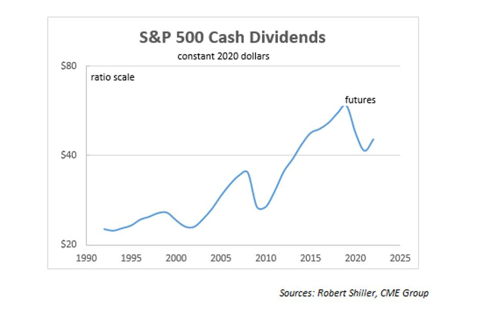 Historical and predicted dividend on the index
