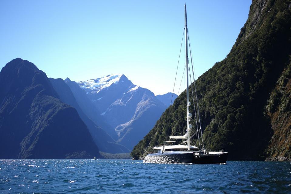 Superyacht catamaran Hemisphere in New Zealand.