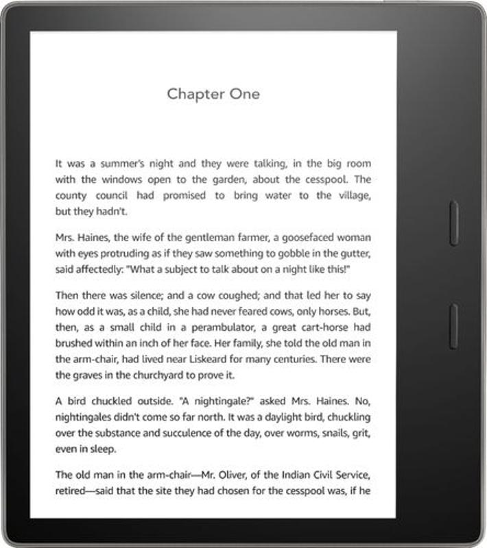 7 inch Amazon Kindle E-reader shown reader the first chapter of a book