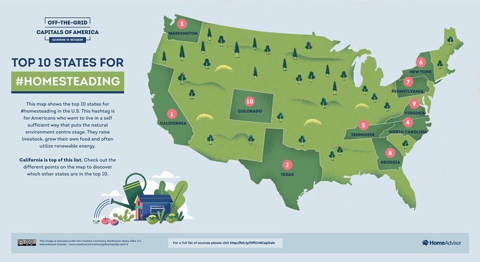 The homesteading hotspots of America.