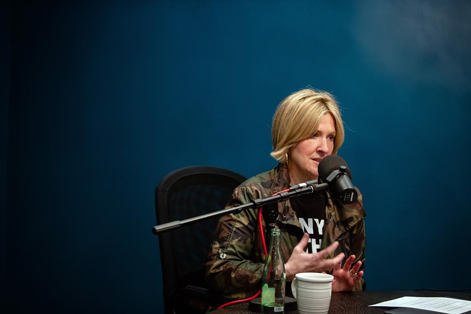 Brené Brown recording her new podcast, ″Unlocking Us.″