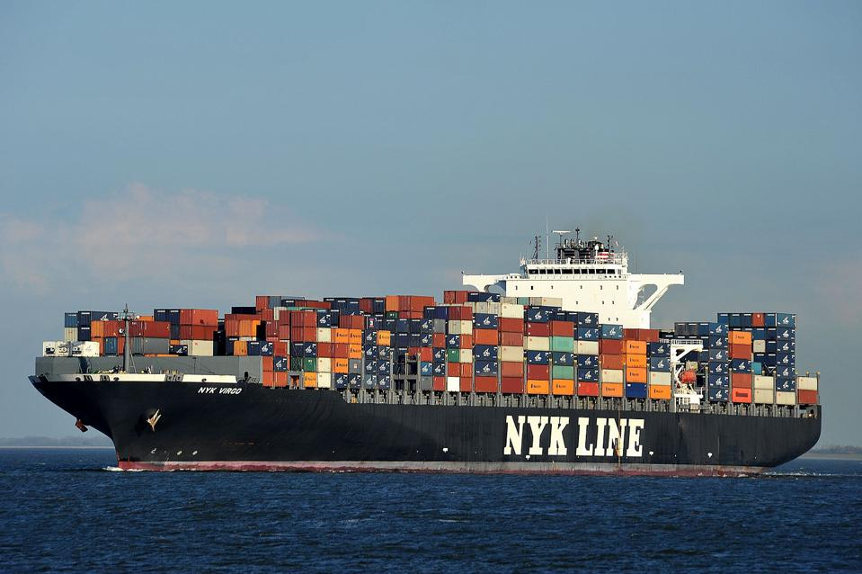 Large shipping container at sea.