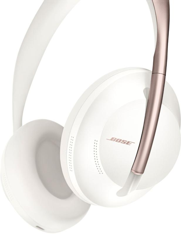 Bose Noise-Cancelling Headphones 700 with white ear cups and a rose gold headband
