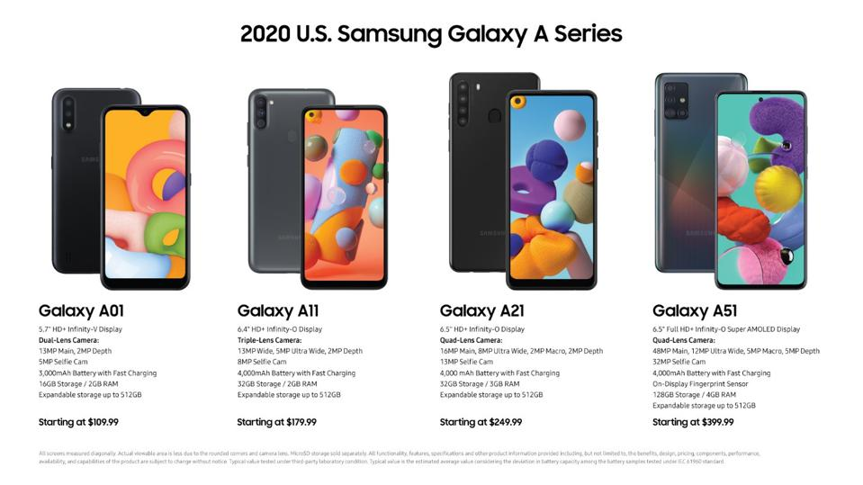 The Galaxy A-series starts at 16GB of Storage and 2GB of memory and upgrades up to 128GB of storage and 4GB of memory.