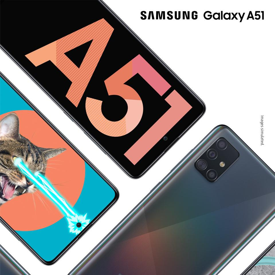 The Galaxy A51 with a Quad-lens camera system and a front facing hole punch design