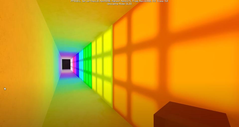 Ray traced bounce lighting from colored windows produces a rainbow color gradient on the floor.