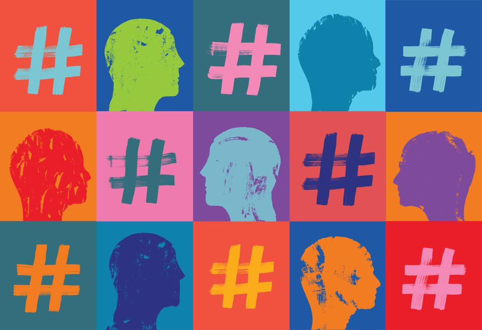 Pattern with Hashtags and Heads, Instagram, facebook, linkedin, snapchat, Influencers concept, marketing, Grunge texture, Community, People, Heads, Hash tags, Digital Marketing, Hashtag Symbol, Pattern, hashtag, internet community, hash tagging