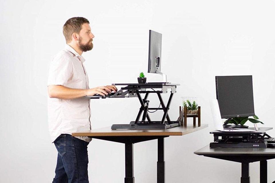 VIVO Black Height Adjustable 32 inch Standing Desk Converter | Sit Stand Dual Monitor and Laptop Riser Workstation (DESK-V000K)
